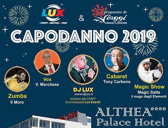 locandina del capodanno 2019 all'althea palace hotel di castelvetrano