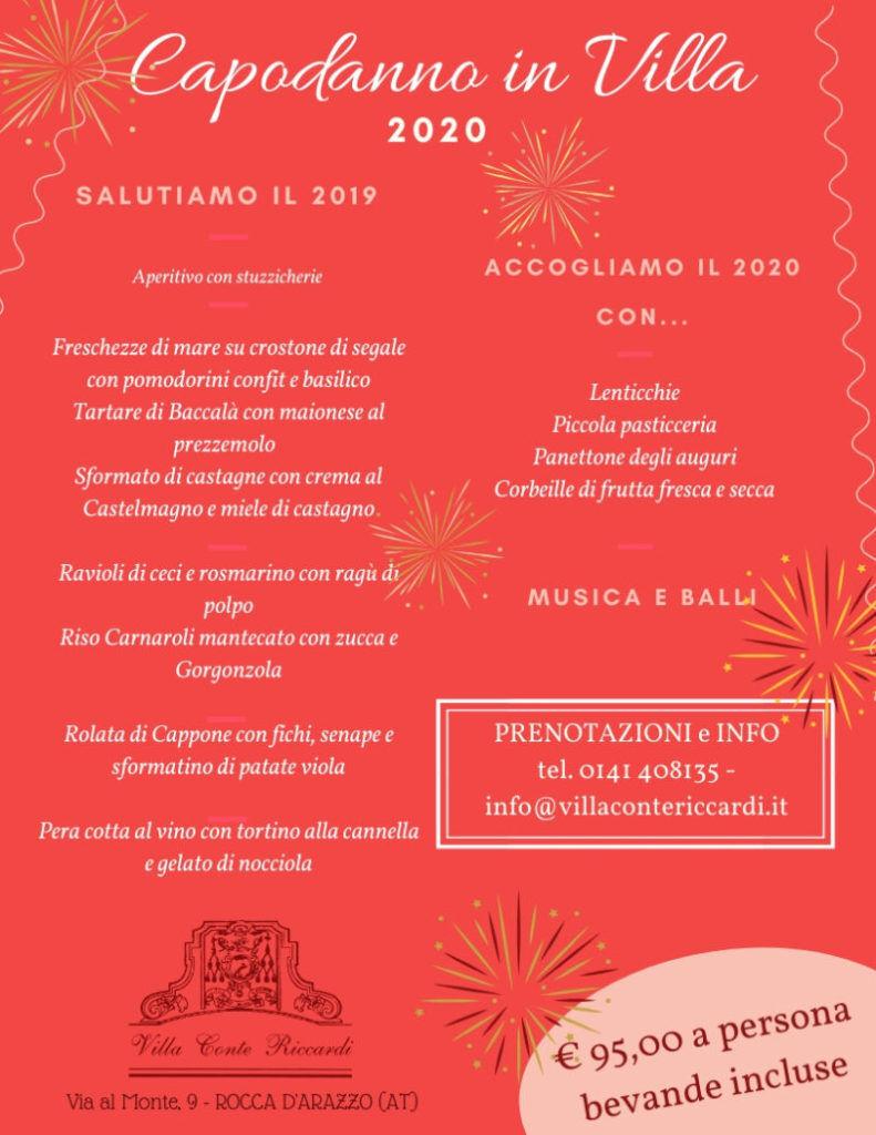 Menù Capodanno a Villa Conte Riccardi